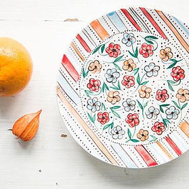Посуда ручной работы. Ярмарка Мастеров - ручная работа Цветочный луг. Блюдце ручной работы, керамика. Handmade.