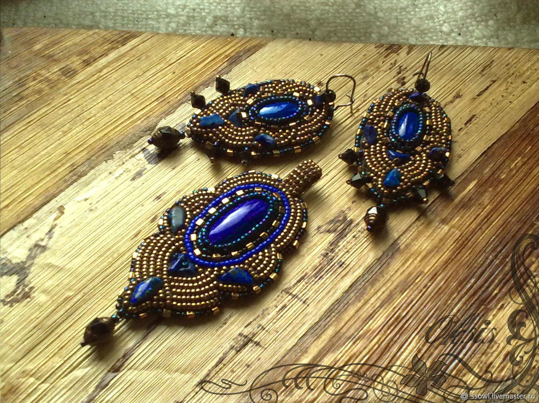 Маленький кулон Синее золото с натуральным лазуритом, японским бисером, Подвеска, Брянск,  Фото №1