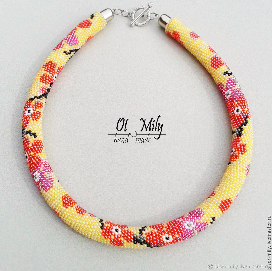 Harness beaded Flower Sakura, Necklace, Abakan,  Фото №1