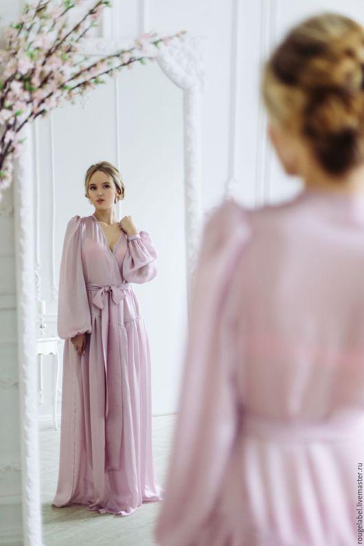 Халаты ручной работы. Ярмарка Мастеров - ручная работа. Купить Шелковый пеньюар (халат). Handmade. Бледно-розовый, халат, пеньюар