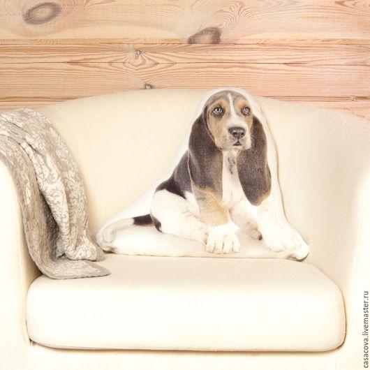 Текстиль, ковры ручной работы. Ярмарка Мастеров - ручная работа. Купить Подушка Бассет-хаунд – декоративная подушка с собакой. Handmade.