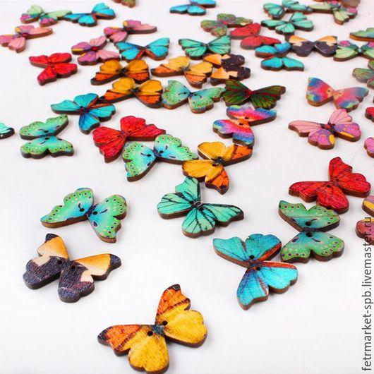 Другие виды рукоделия ручной работы. Ярмарка Мастеров - ручная работа. Купить Бабочки натуральные. Handmade. Комбинированный, деревянные пуговицы