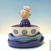 Сувениры и подарки handmade. Livemaster - original item Ceramic set  Sailor in the  boat. Handmade.