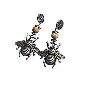 Украшения ручной работы. Ярмарка Мастеров - ручная работа Серьги бронзовые пчелы, яшма. Handmade.