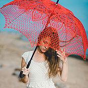 Аксессуары ручной работы. Ярмарка Мастеров - ручная работа Ажурный красный зонт. Handmade.