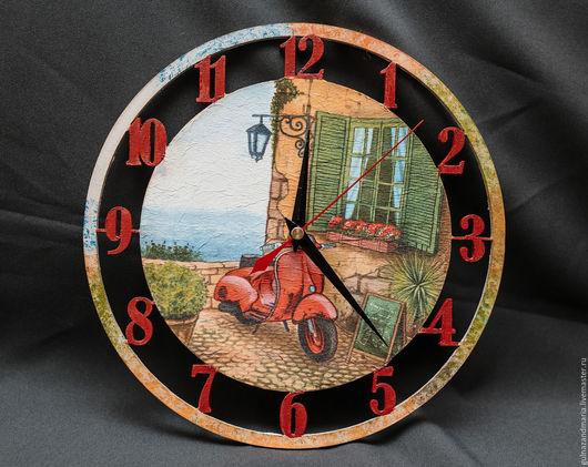 Часы для дома ручной работы. Ярмарка Мастеров - ручная работа. Купить Настенные часы. Handmade. Италия, курорт, море, Кафе
