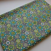 Материалы для творчества handmade. Livemaster - original item Fabric Green flowers on gray. Handmade.