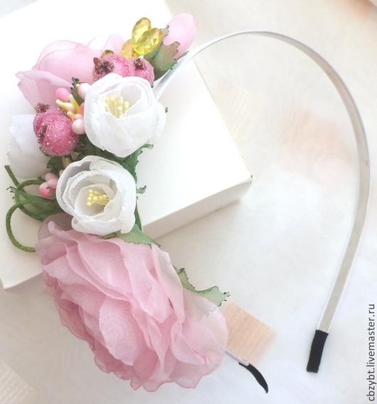 """Детская бижутерия ручной работы. Ярмарка Мастеров - ручная работа. Купить Ободок """" Предчувствие весны.."""" с розами и жасмином. Цветы из ткани.. Handmade."""