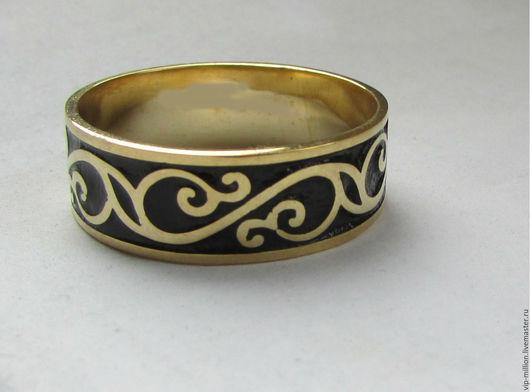 Украшения для мужчин, ручной работы. Ярмарка Мастеров - ручная работа. Купить Серебряное кольцо с эмалью (унисекс). Handmade. Черный