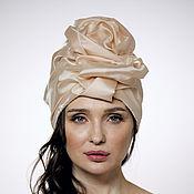 Аксессуары handmade. Livemaster - original item Creme brulee silk organza turban with a bead Pearl. Handmade.