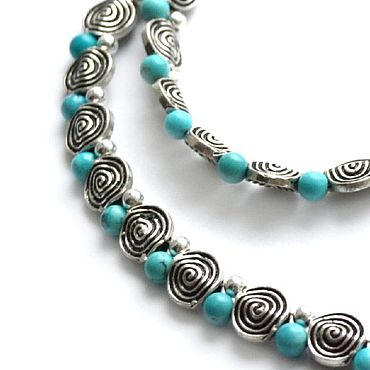 Decorations handmade. Livemaster - original item Necklace of silver with turquoise Whirlpool (silver, natural turquoise). Handmade.