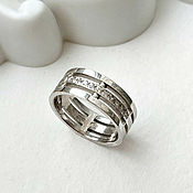 handmade. Livemaster - original item Wedding ring with silver stones (Ob1). Handmade.