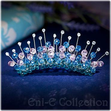 Работы для детей, ручной работы. Ярмарка Мастеров - ручная работа Диадема, гребень, маленькая корона розовый голубой. Handmade.