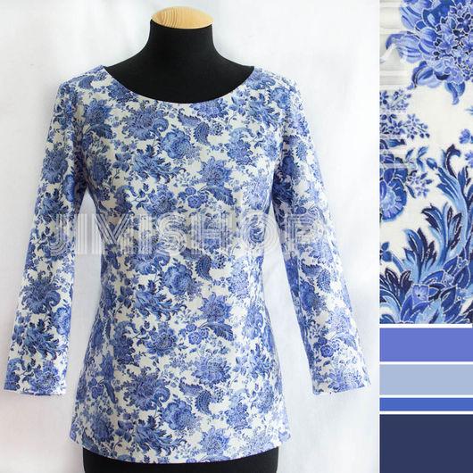Блузки ручной работы. Ярмарка Мастеров - ручная работа. Купить Блузка с узором Гжель. Handmade. Синий, дизайнерская одежда