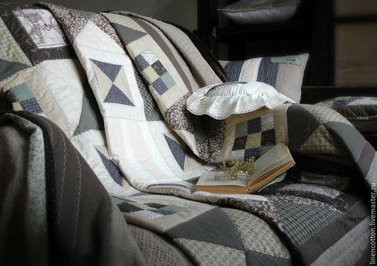 """Текстиль, ковры ручной работы. Ярмарка Мастеров - ручная работа. Купить """"Осень. Путешествие"""" лоскутный комплект. Handmade. Зеленый коричневый"""