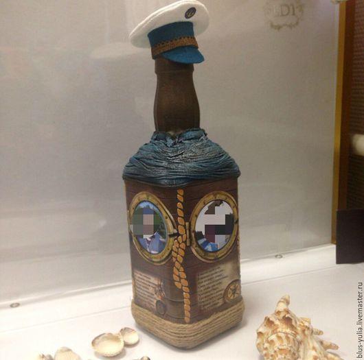 Подарочное оформление бутылок ручной работы. Ярмарка Мастеров - ручная работа. Купить бутылка Прогулка на теплоходе. Handmade. Разноцветный