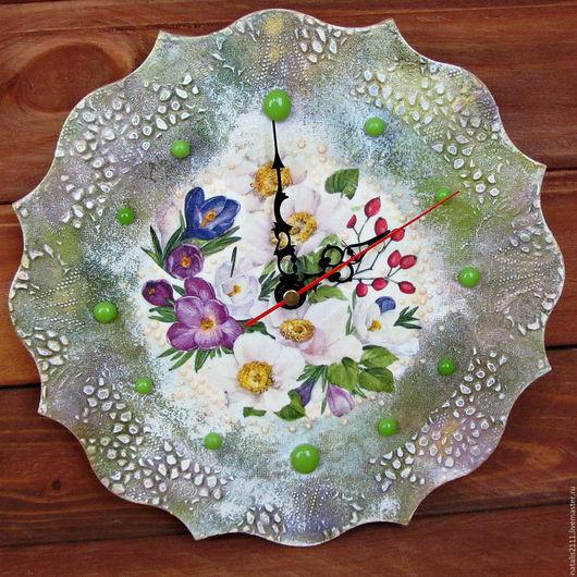 """Часы для дома ручной работы. Ярмарка Мастеров - ручная работа. Купить Часы настенные """"В ожидании весны"""". Handmade. Белый"""