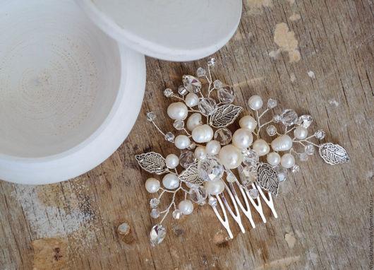 Свадебные украшения ручной работы. Ярмарка Мастеров - ручная работа. Купить Свадебный гребень для прически невесты с натуральным жемчугом. Handmade.