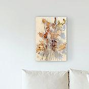 Картины и панно handmade. Livemaster - original item Picture Autumn bouquet (white, burgundy, flowers). Handmade.