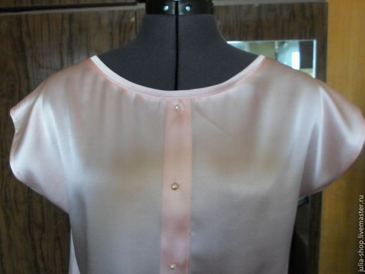 """Блузки ручной работы. Ярмарка Мастеров - ручная работа. Купить Летняя шелковая блузка """" Персиковая"""". Handmade. Бледно-розовый"""