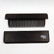 Сувениры и подарки handmade. Livemaster - original item Copy of wood comb from wenge in case with Inc pearl Rhino. Handmade.