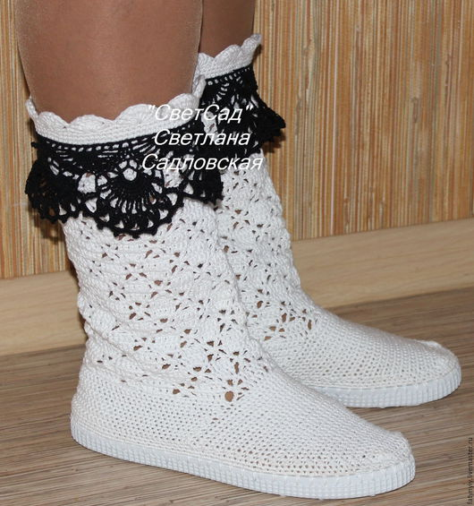 Сапожки `Бело-черная классика`. Ваши ножки скажут ВАМ `СПАСИБО` за мои сапожки!!!!
