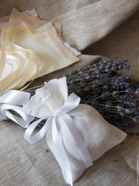 Упаковка ручной работы. Ярмарка Мастеров - ручная работа. Купить Подарочный мешочек из льна. Handmade. Белый, натуральные материалы