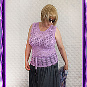 Одежда handmade. Livemaster - original item Knitted purple crochet top.. Handmade.