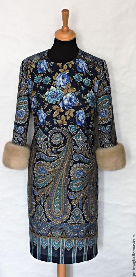 Платья ручной работы. Ярмарка Мастеров - ручная работа. Купить Платье Каменный цветок( из павловопосадского палантина. Handmade. Разноцветный