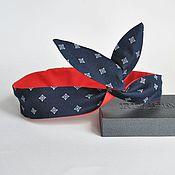 Аксессуары handmade. Livemaster - original item Headband Solokha PIN-up dark blue pattern / red adnot. Handmade.