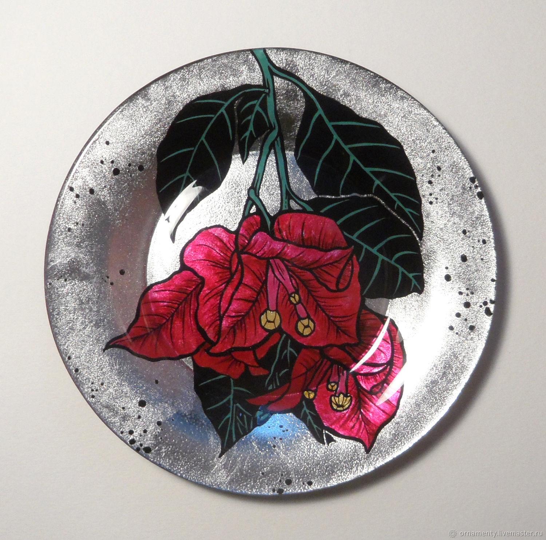 Декоративная посуда ручной работы. Ярмарка Мастеров - ручная работа. Купить Коллекция тарелок Цветы - Красная бугенвиллия. Handmade.