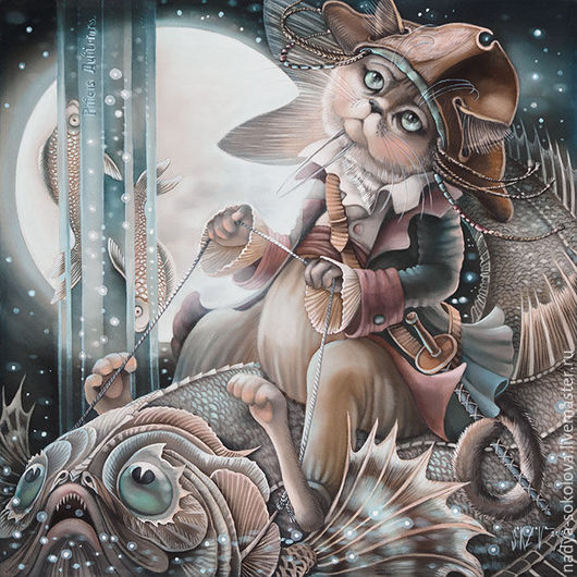 Фантазийные сюжеты ручной работы. Ярмарка Мастеров - ручная работа. Купить Рыбы. Handmade. Тёмно-синий, кот, рыба, пират
