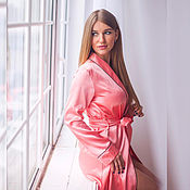 Одежда handmade. Livemaster - original item Bathrobe satin