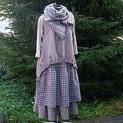 Одежда ручной работы. Ярмарка Мастеров - ручная работа №146.1 Комплект:юбка+шарф+жилет  лен с шерстью. Handmade.