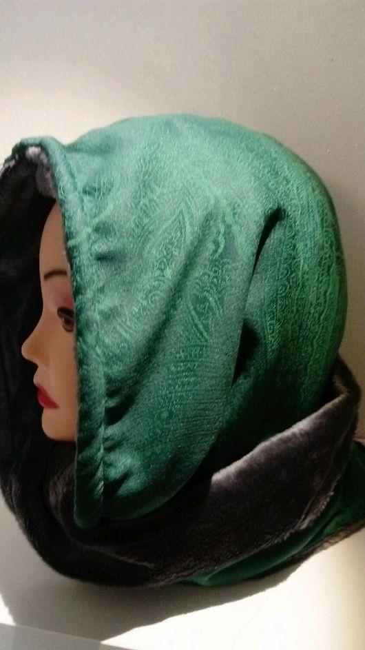 Капюшоны ручной работы. Ярмарка Мастеров - ручная работа. Купить Зелёный капюшон на мехе вельбоа. Handmade. Капюшон, мех искусственный
