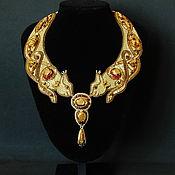 Золотое Колье из бисера с кристаллами Сваровски Брисингамен