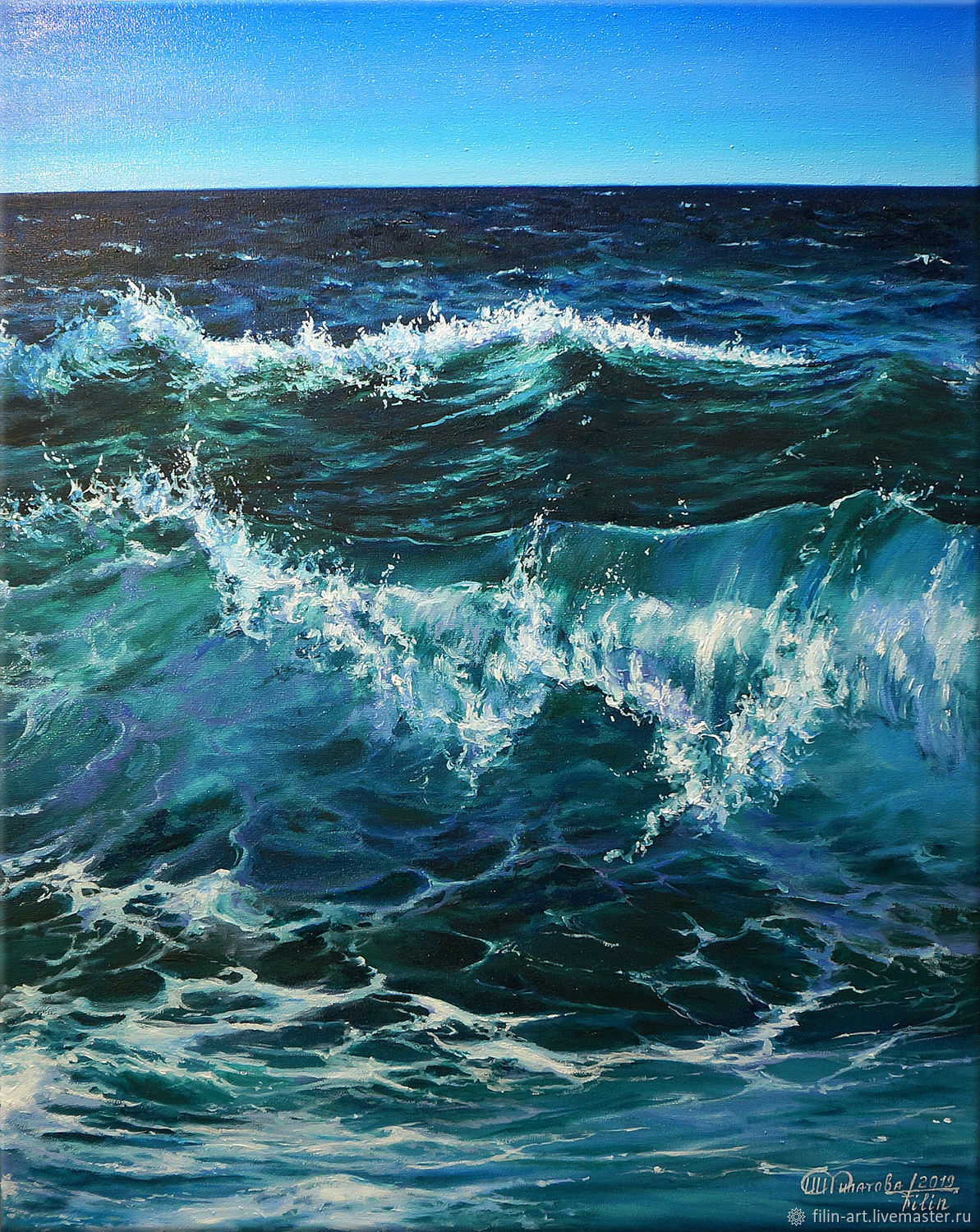 """Sea oil painting on canvas - """" sea wave"""", Pictures, Minsk,  Фото №1"""