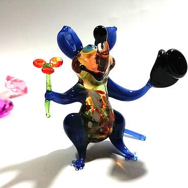 Сувениры и подарки ручной работы. Ярмарка Мастеров - ручная работа Мышь Бонжур синий. Handmade.