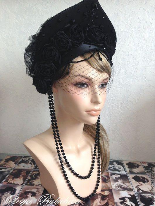 """Шляпы ручной работы. Ярмарка Мастеров - ручная работа. Купить Кокошник стилизованный """"Чёрные Розы"""". Handmade. Черный, аксессуары для фотосессий"""