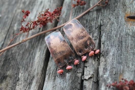 Серьги ручной работы. Ярмарка Мастеров - ручная работа. Купить Медные Бохо Серьги с розовым кораллом. Handmade. Медные серьги