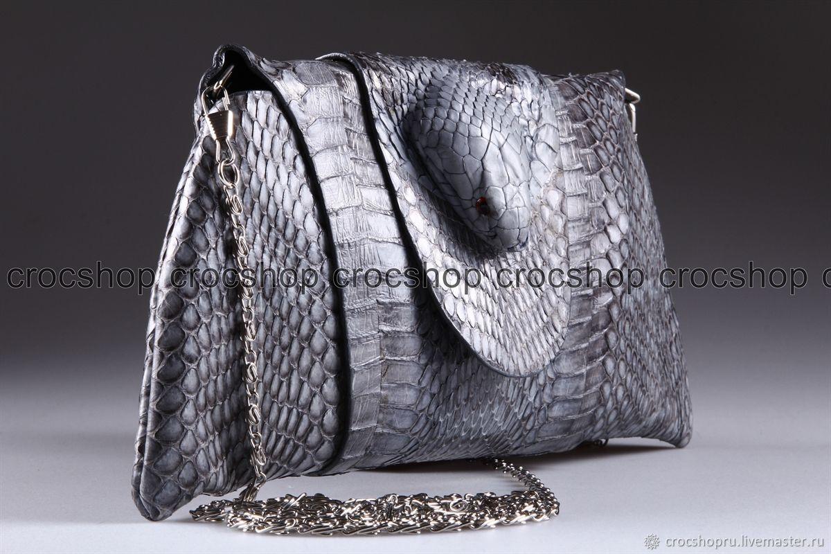 Handbags handmade. Livemaster - handmade. Buy Clutch female leather Cobra with snake head IMK0010E.Clutch