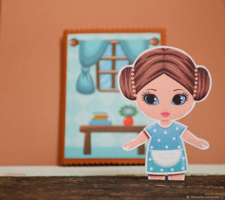 Кукла из фетра с одеждой. Брюнетка, Одежда для кукол, Кировград,  Фото №1