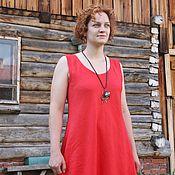 Одежда handmade. Livemaster - original item Dress simple, linen, red. Long dress without sleeves.. Handmade.