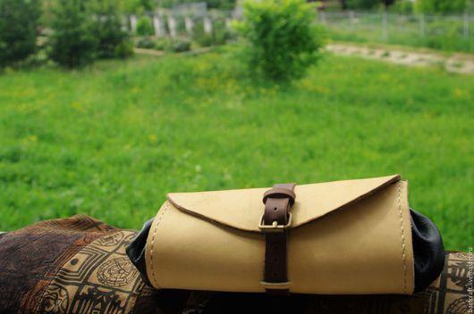 Женские сумки ручной работы. Ярмарка Мастеров - ручная работа. Купить Сумочка-клатч из натуральной кожи. Handmade. Бежевый, кожа