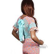 Одежда ручной работы. Ярмарка Мастеров - ручная работа Платье цветочно-кружевное /персик. Handmade.