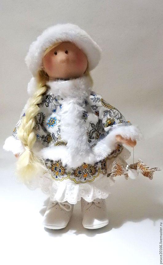 Интерьерная, текстильная кукла  выполнена из трикотажа` белый ангел` (Нидерланды) 40 см  `Пелагеюшка`