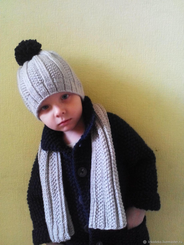 Вязаный комплект для мальчика: пальто, шапка, шарф, Одежда, Архангельск, Фото №1