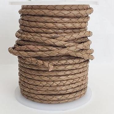 Материалы для творчества ручной работы. Ярмарка Мастеров - ручная работа Кожаный плетеный шнур, круглый, диаметр 3мм. Испания. Handmade.