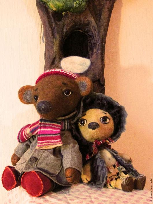 Кукольный театр ручной работы. Ярмарка Мастеров - ручная работа. Купить Планшеточки Ёжик и Медвежонок. Handmade. Комбинированный, Валяние