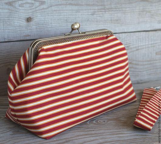 Женские сумки ручной работы. Ярмарка Мастеров - ручная работа. Купить Женская сумочка с фермуаром. Handmade. Ярко-красный
